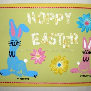 Footprint Bunny Easter Canvas Keepsake