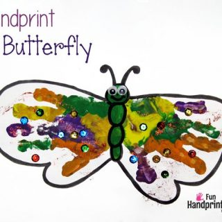 Colorful Handprint Butterfly Craft for Spring