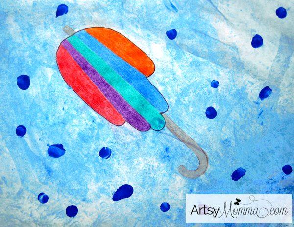 Handprint Umbrella Watercolor - Wax Resist Art