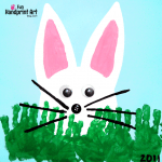 Peeking Bunny with Handprint Grass Easter Craft & Books for Kids