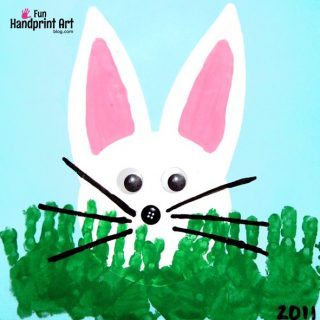 Peeking Bunny with Handprint Grass Easter Craft for Kids