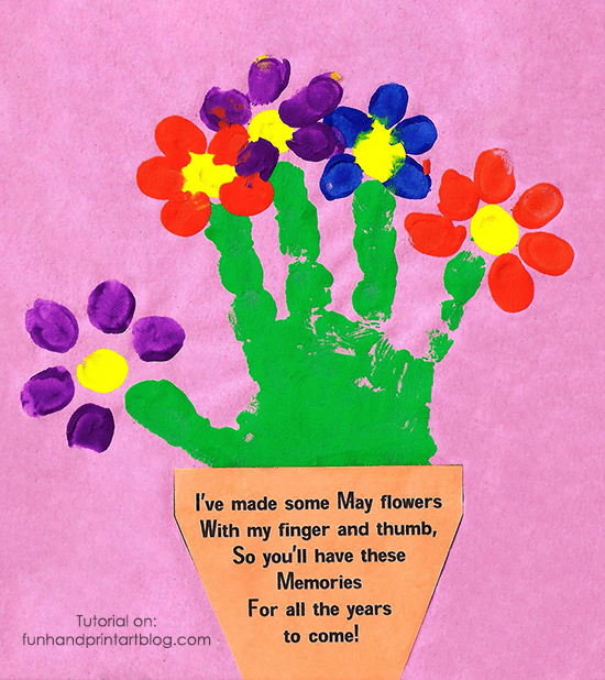 Handprint And Fingerprint Flowerpot With Poem For Mother S Day