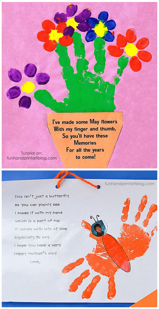 Handprint and Fingerprint Flowerpot with Poem for Mother's ...