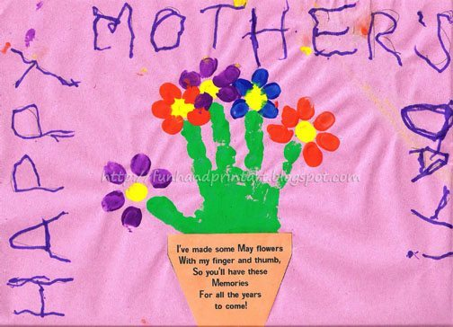 Handprint And Fingerprint Flowerpot With Poem For Mothers Day Fun