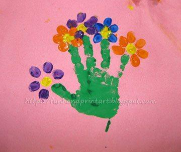 Handprint  Fingerprint Flowerpot with Poem for Mothers DayFun