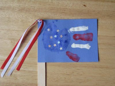 Popsicle Stick Handprint American Flag Craft