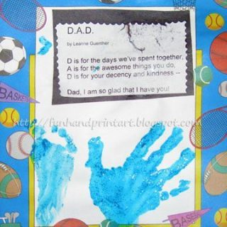 Handprint and Footprint Keepsake with a Poem about Dad