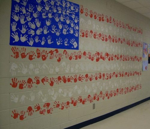 Huge Handprint Flag Mural