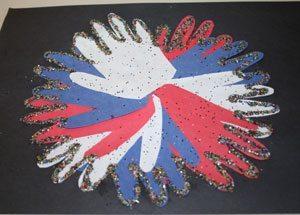 paper handprint fireworks