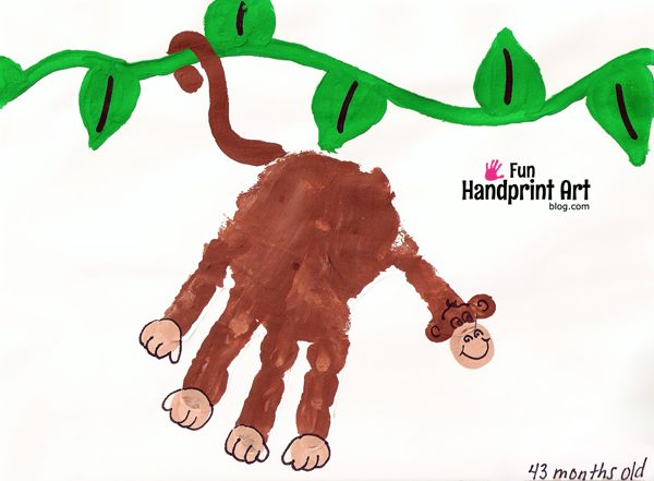 Handprint Monkey on a Vine Kids Craft