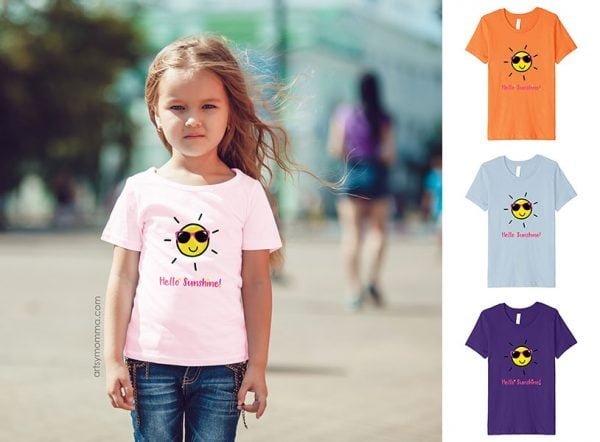 Hello Sunshine Graphic Tee - Summer Shirt for Girls
