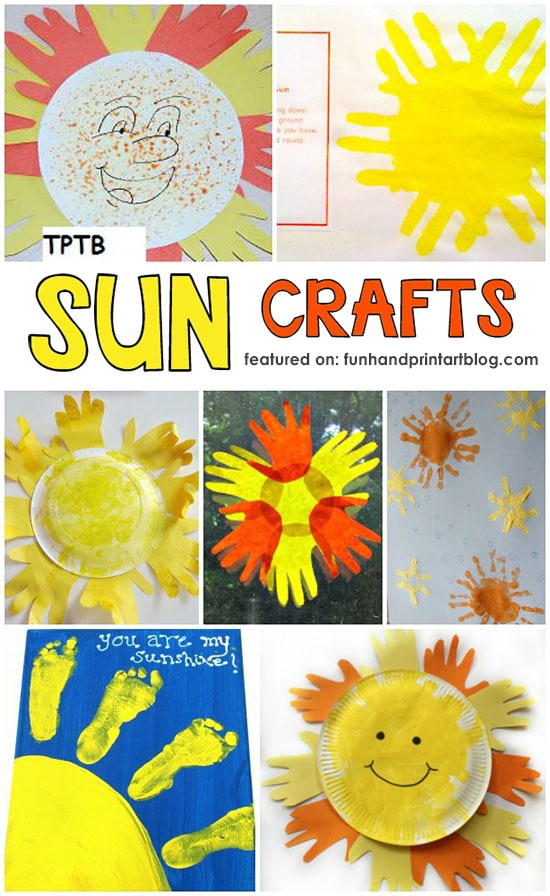 Let's celebrate Summer with some adorable handprint sun craft ideas! These sizzlin' summer crafts made with handprints & footprints are sure to brighten up someone's day.