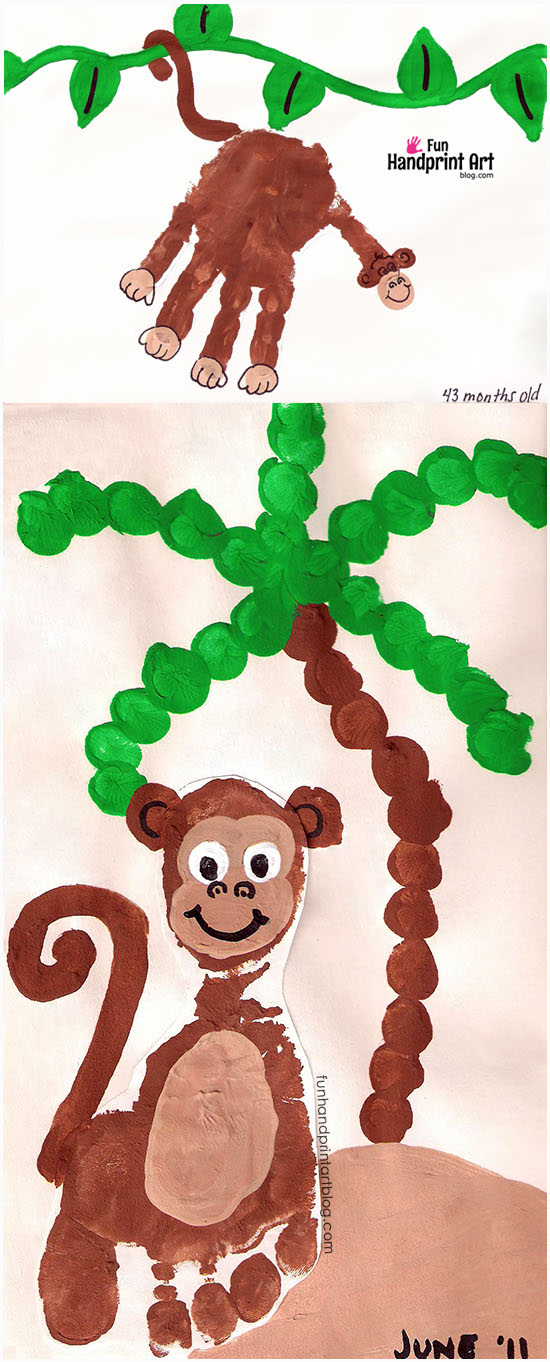 Super cute handprint & footprint Monkey Crafts to make with kids.