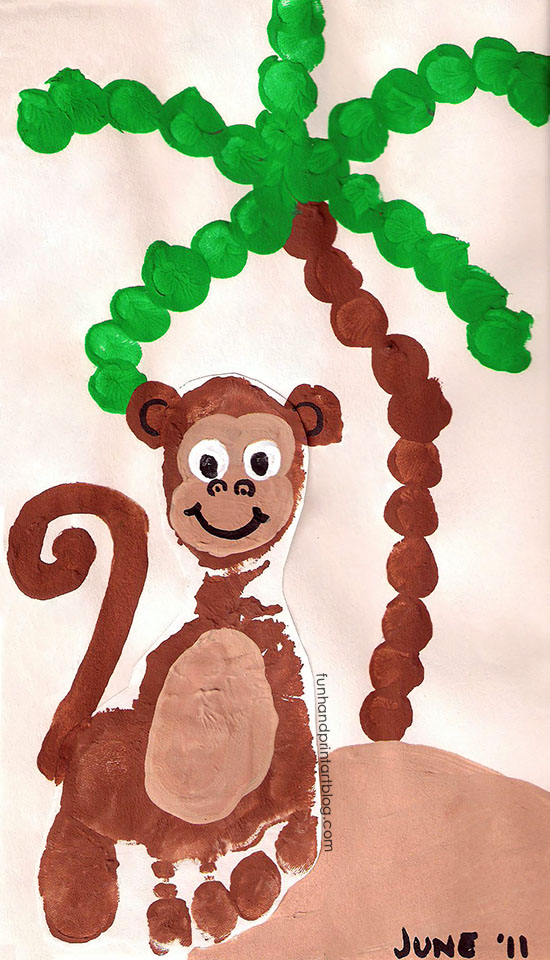 Adorable Footprint Monkey Craft with a Fingerprint Palm Tree