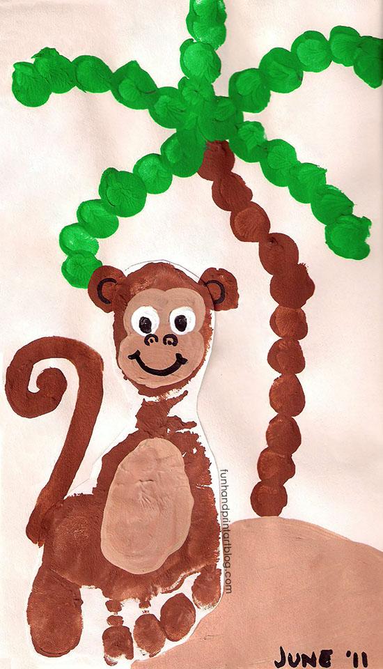 Footprint Monkey Craft and Fingerprint Palm Tree - Fun Handprint Art