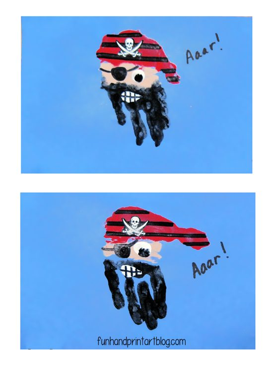 Pirate Handprints for Talk Like a Pirate Day or Pirate Birthday Craft