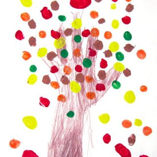 Fall Fingerprint Tree – Scissors Practice & Counting Activity