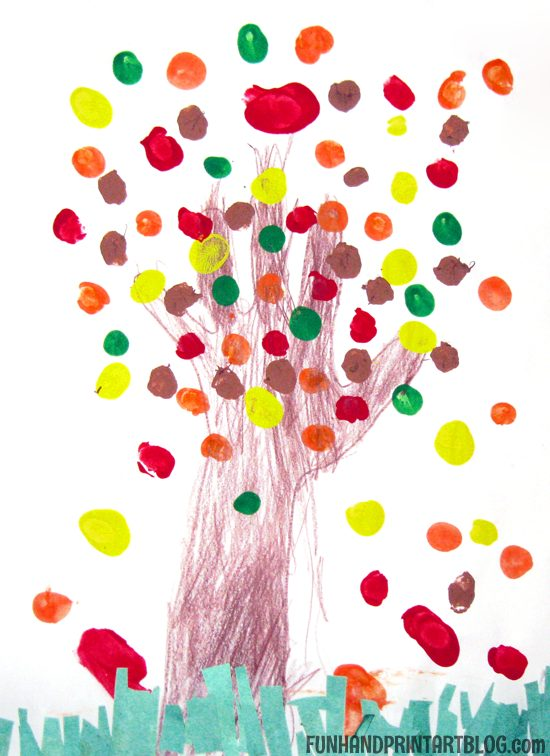 Fingerprint Fall Tree Art and Scissor Practice - Counting Activity