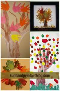 Fall Tree & Leaf Crafts made with Handprints and Fingerprints