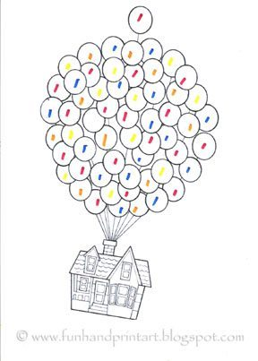 I Printed A Coloring Page Of The House In Movie Being Carried Away By Balloons Wanting T Make This One Matching Activity As Well