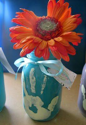 handprint mason jar vase