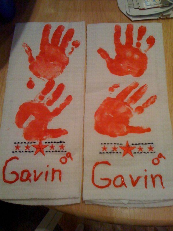Handprint Dish Towels - Grandparent's Day Gift Idea