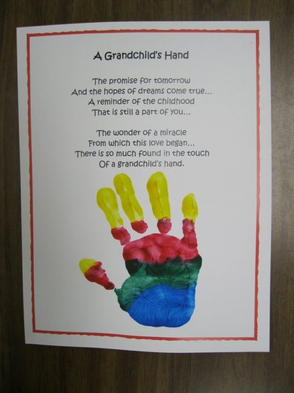 Grandchild Poem for Grandparent's Day, - Handprint Craft Idea