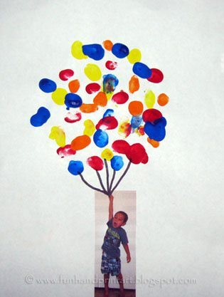 Glue the photo just below the balloons and draw on some balloon