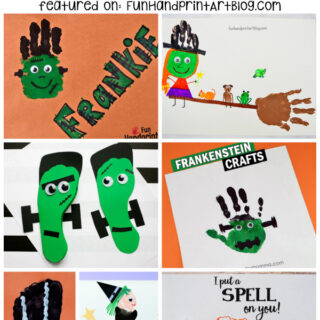 Halloween Witches & Frankenstein Crafts made with hands & feet