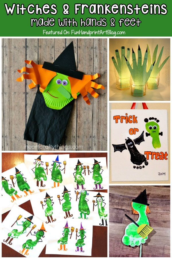 Hand and Foot Shaped Halloween Witches and Frankenstein Crafts