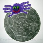 Handprint Spider + Watercolor Resist Paper Plate Web