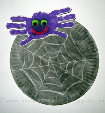 Handprint Spider Craft | Paper Plate Spider Web