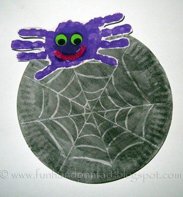 Handprint Spider Craft | Paper Plate Spider Web