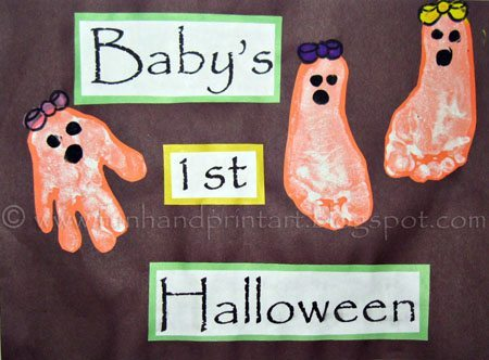 Baby's 1st Halloween Art Project featuring handprint & footprint ghosts