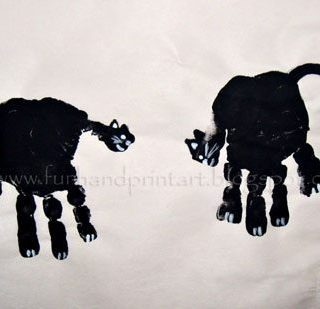 Handprint Black Cats for Halloween!