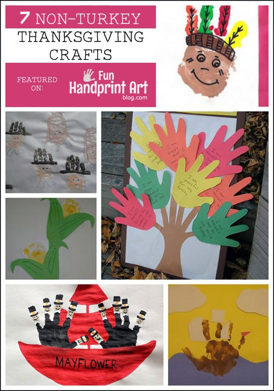 7 Non- Turkey Themed Thanksgiving Crafts for Kids using Handprints