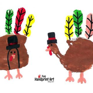 Handprint Pilgrim Turkeys - Kids Thanksgiving Craft