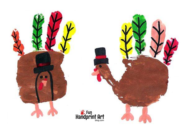 Handprint Pilgrim Turkeys - Kids Thanksgiving Craft