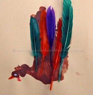 Festive Handprint Turkey with Feathers