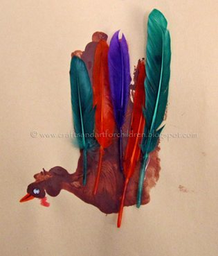 Handrprint Turkey Craft With Feathers