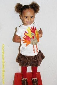 Kids Thanksgiving Shirt: Handprint Turkey Applique