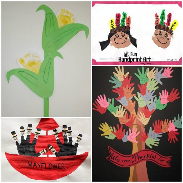 Kids Thanksgiving Handprint Crafts that aren't Turkeys