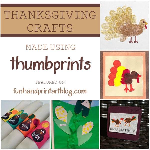 Thanksgiving Crafts made using Thumbprint Art