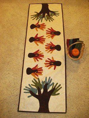DIY Thanksgiving Table Runner   Turkey Hands