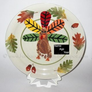 Keepsake Thanksgiving Plate – Footprint Turkey