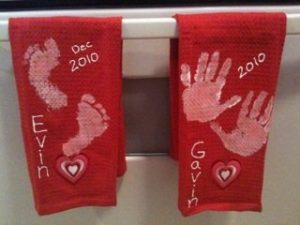 Handprint Dish Towel Keepsakes