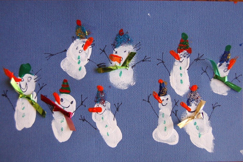 How to make Fingerprint Snowmen with Scarves
