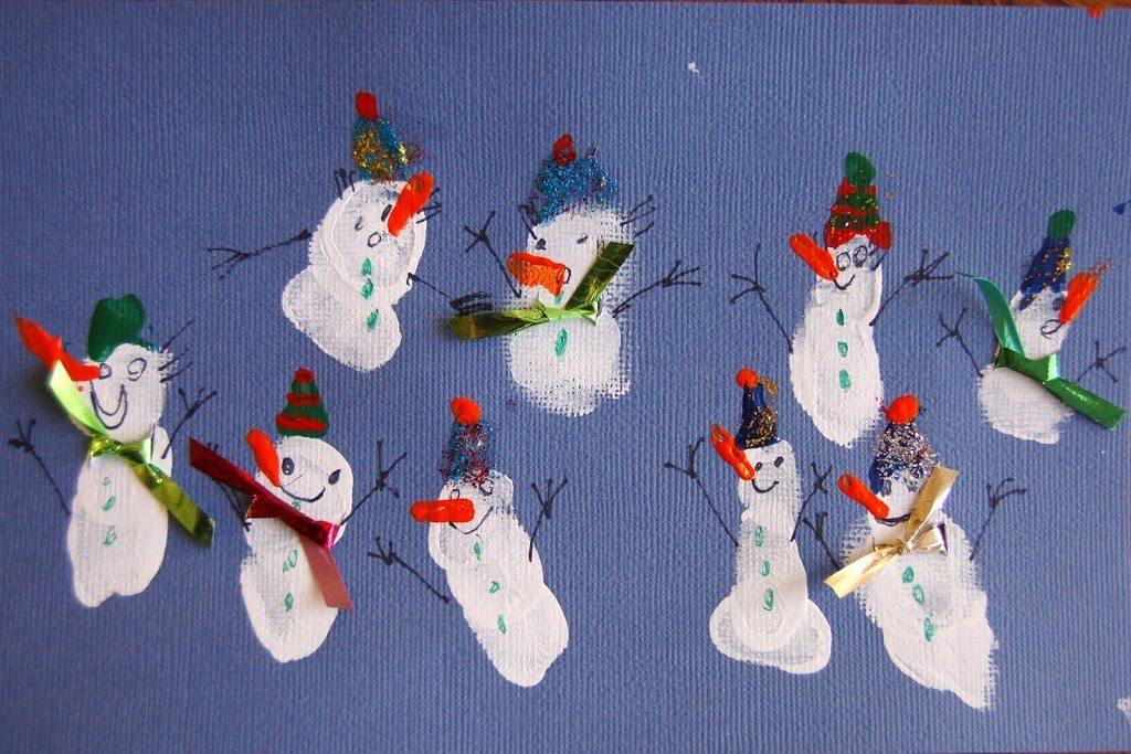 How to make Fingerprint Snowmen with Scarves