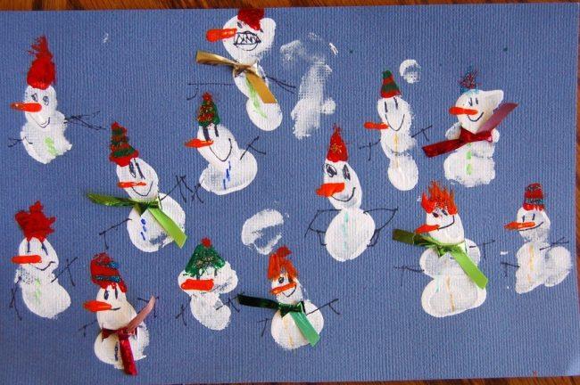 Finished Snowman Fingerprint Collage