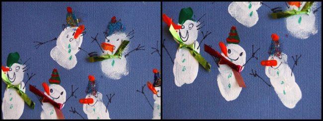 How to make snowmen from fingerprints
